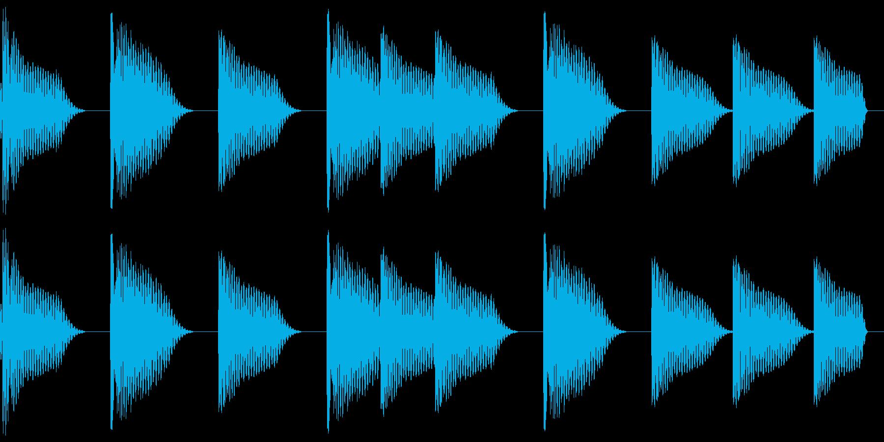 シンプルなドラムのジングルの再生済みの波形