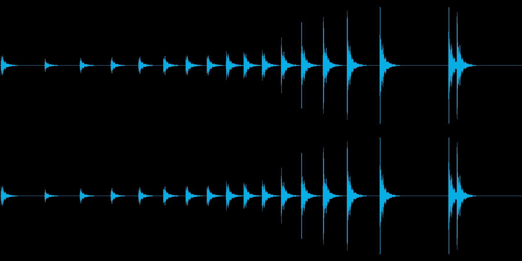 音侍「カン…」歌舞伎で使う拍子木の連打音の再生済みの波形