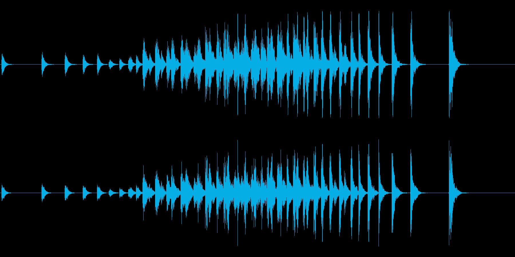 和太鼓によるオープニング等に最適な連打音の再生済みの波形