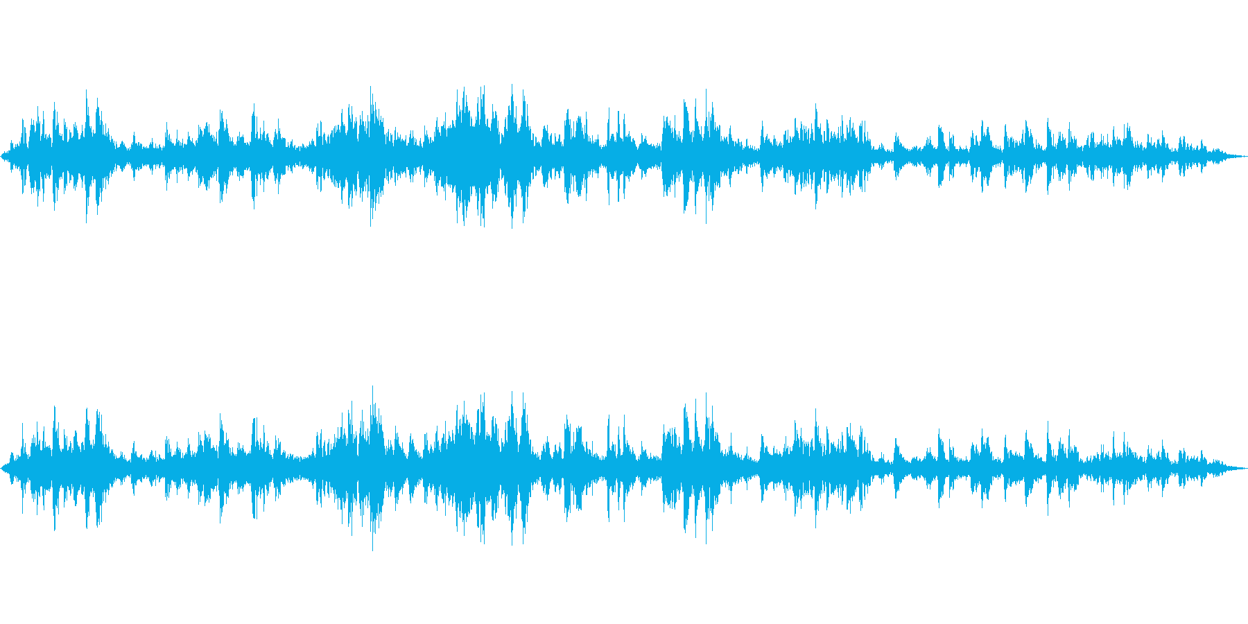お囃子の音と人のざわざわの再生済みの波形