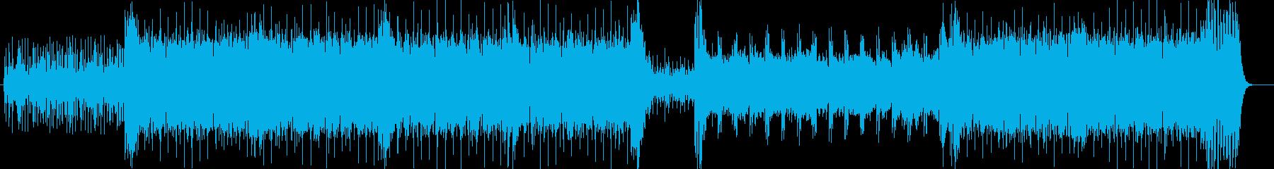 ドキドキと勢いのシンセサイザーなどの曲の再生済みの波形