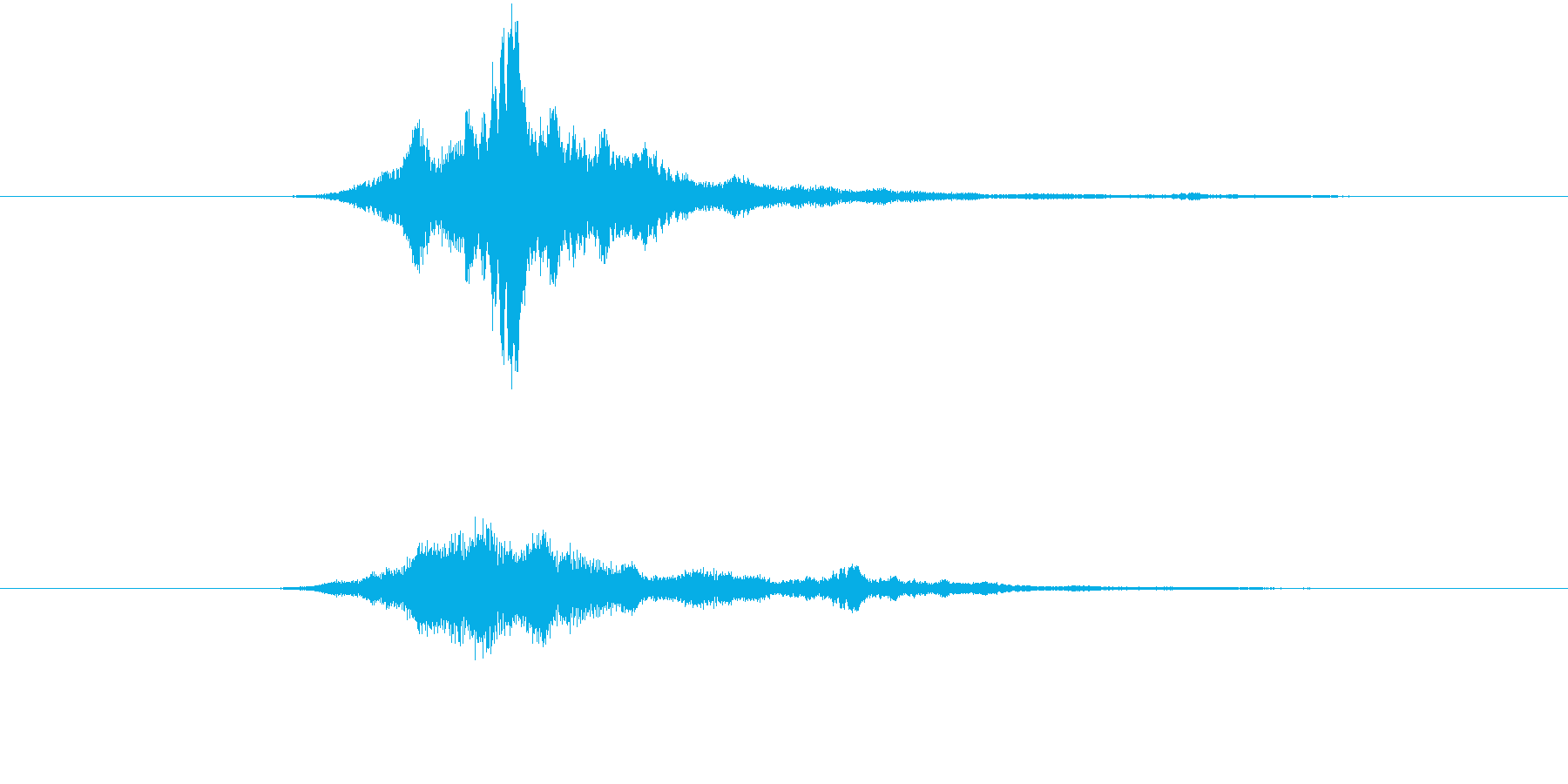 ヒューン(メール等の送受信音)、電子音の再生済みの波形