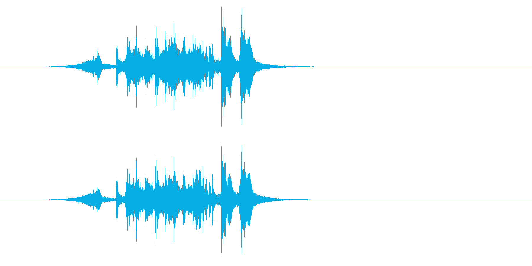 アタック感の強いホーン・セクションの再生済みの波形