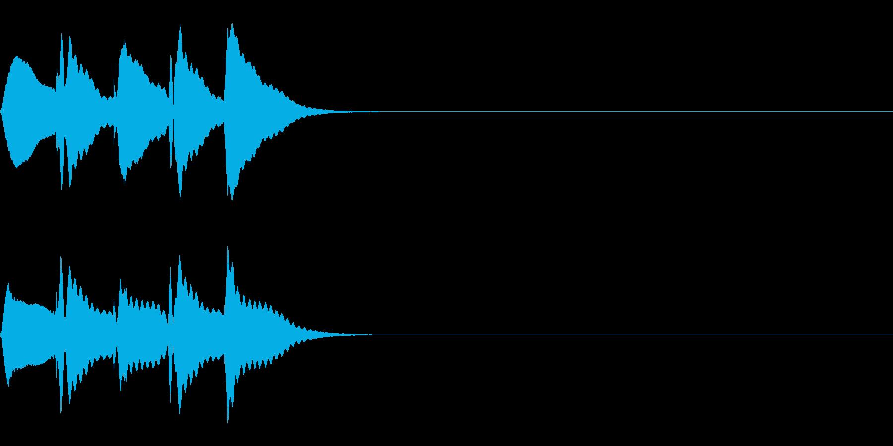 マリンバの短いトリルの再生済みの波形