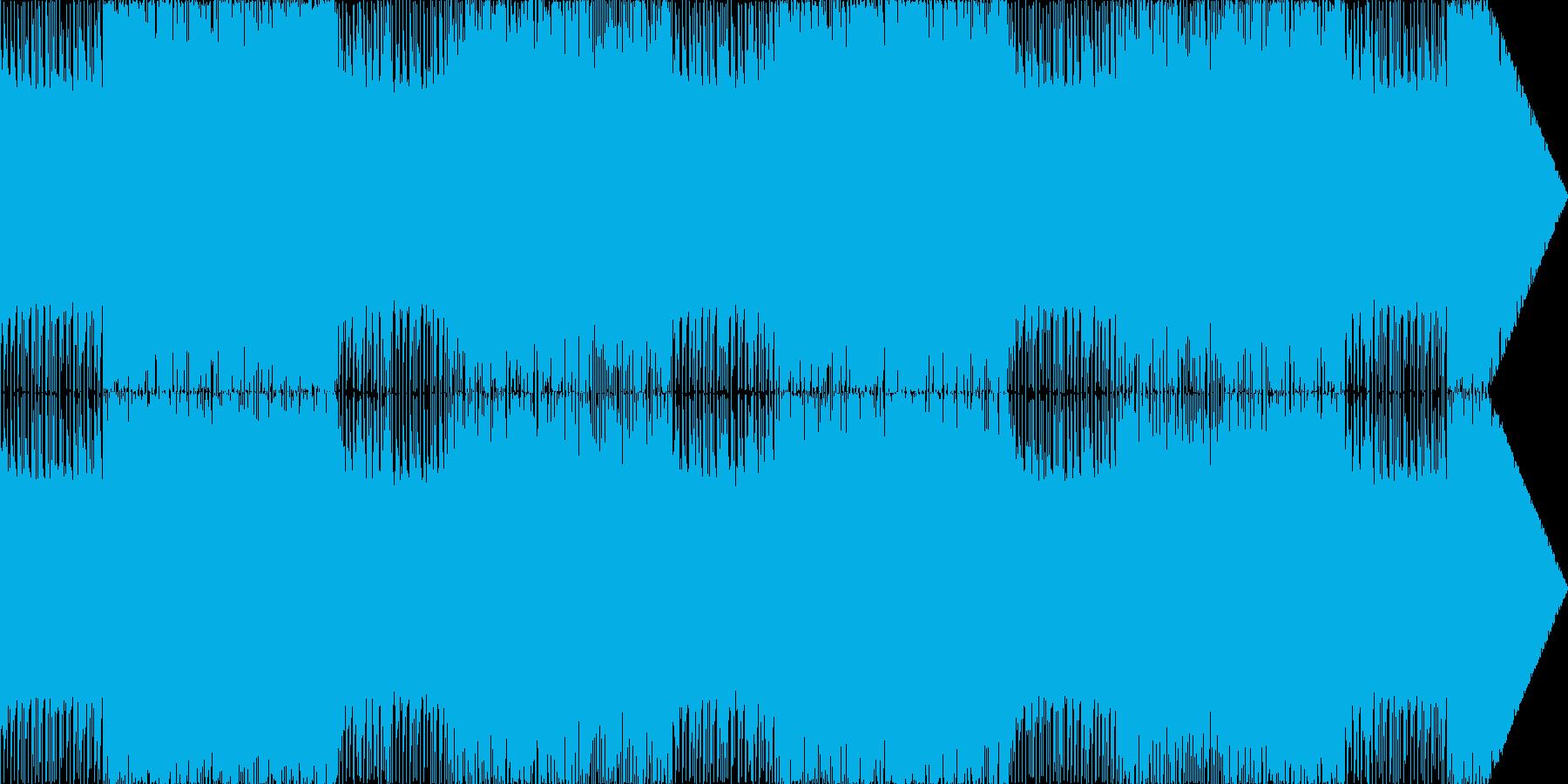 ベース効いたハードなロック、メタル調の曲の再生済みの波形