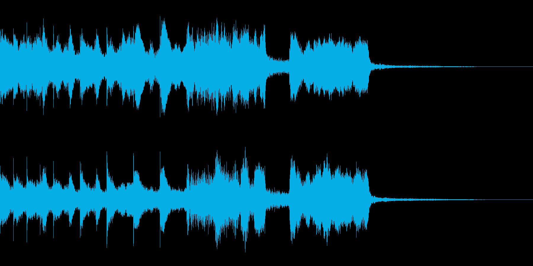 中華風ジングル、銅鑼、コケコッコーの再生済みの波形