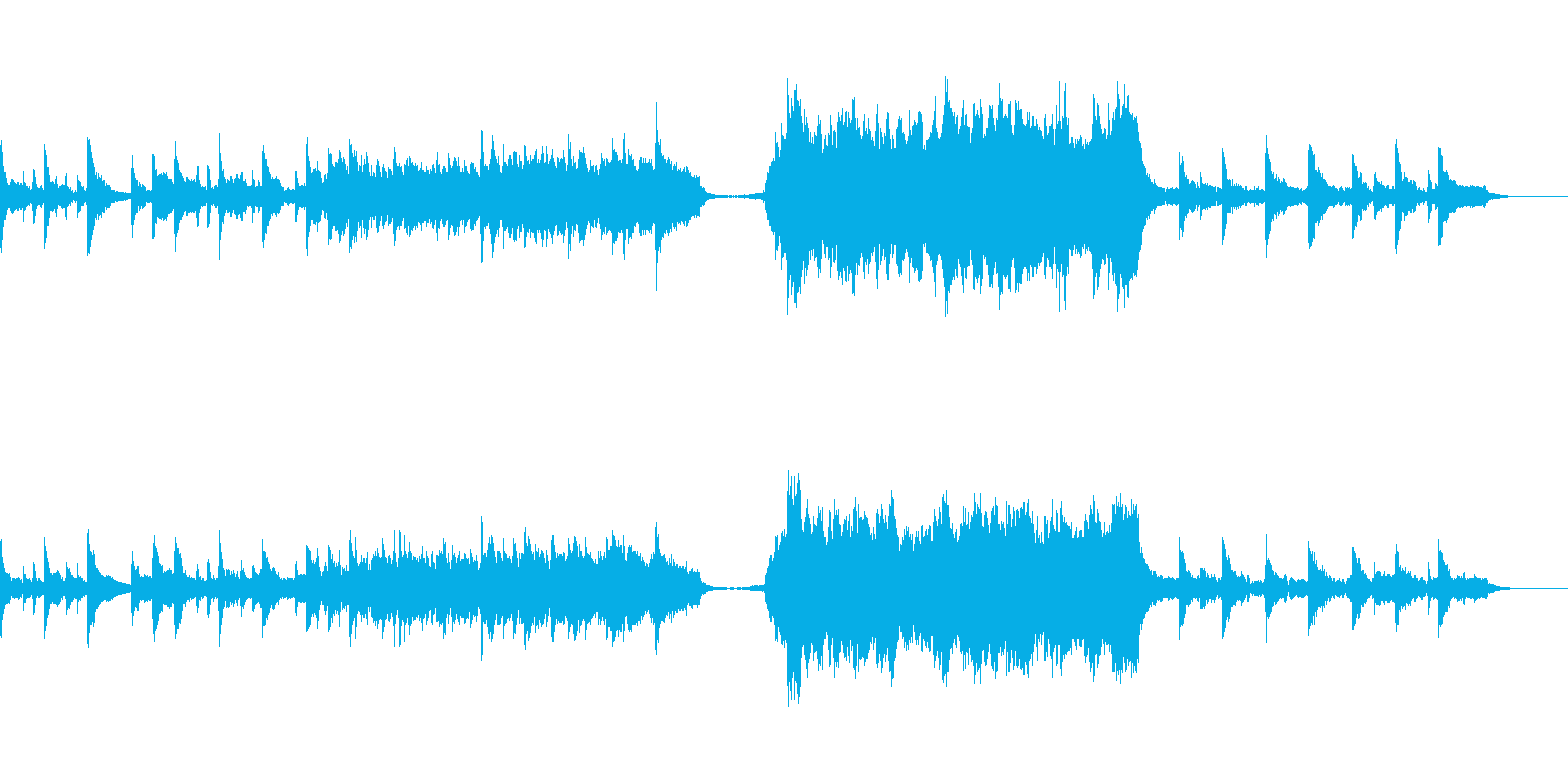 感動するシーンで使えるピアノとオーケストの再生済みの波形