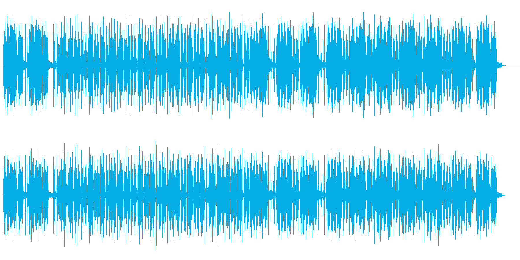 ミュートの入ったベース音が特徴のポップスの再生済みの波形