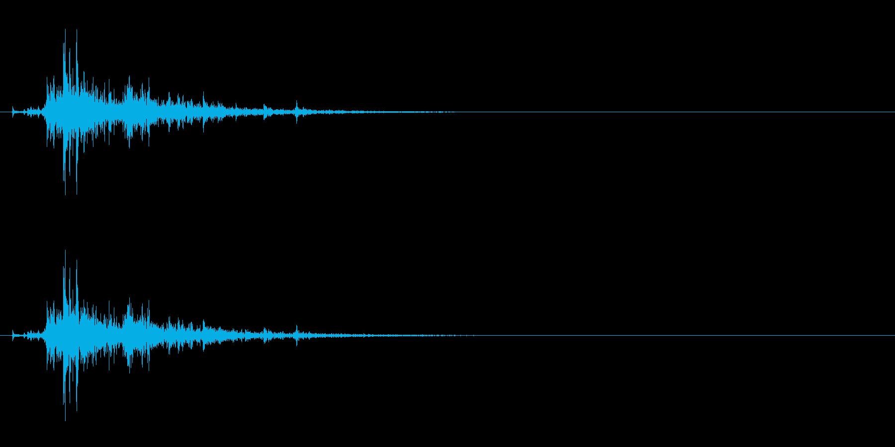 「シャン!」ウッドチャイム単発音リバーブの再生済みの波形