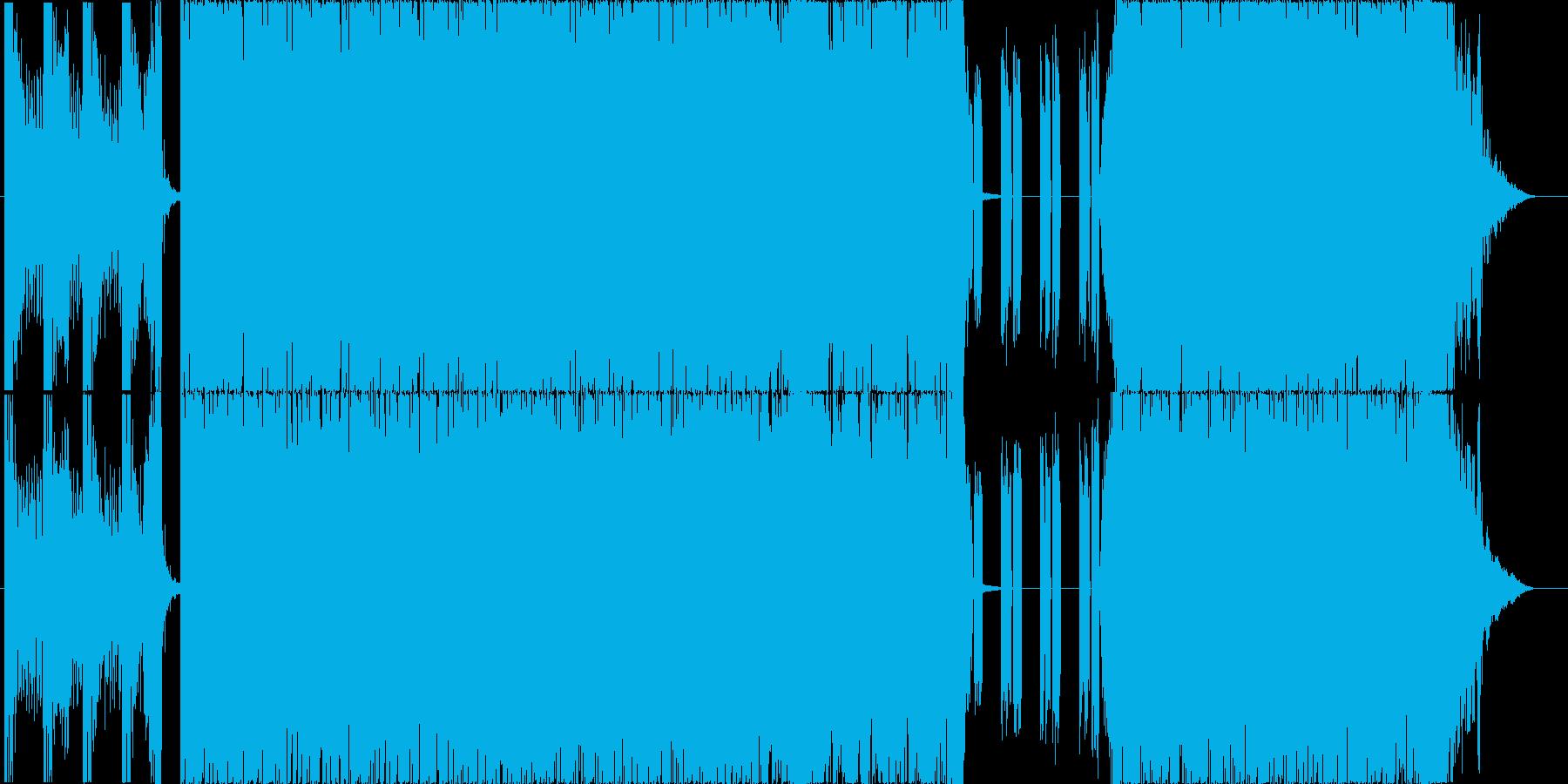 重めのギターが印象的な4分打ちの楽曲02の再生済みの波形