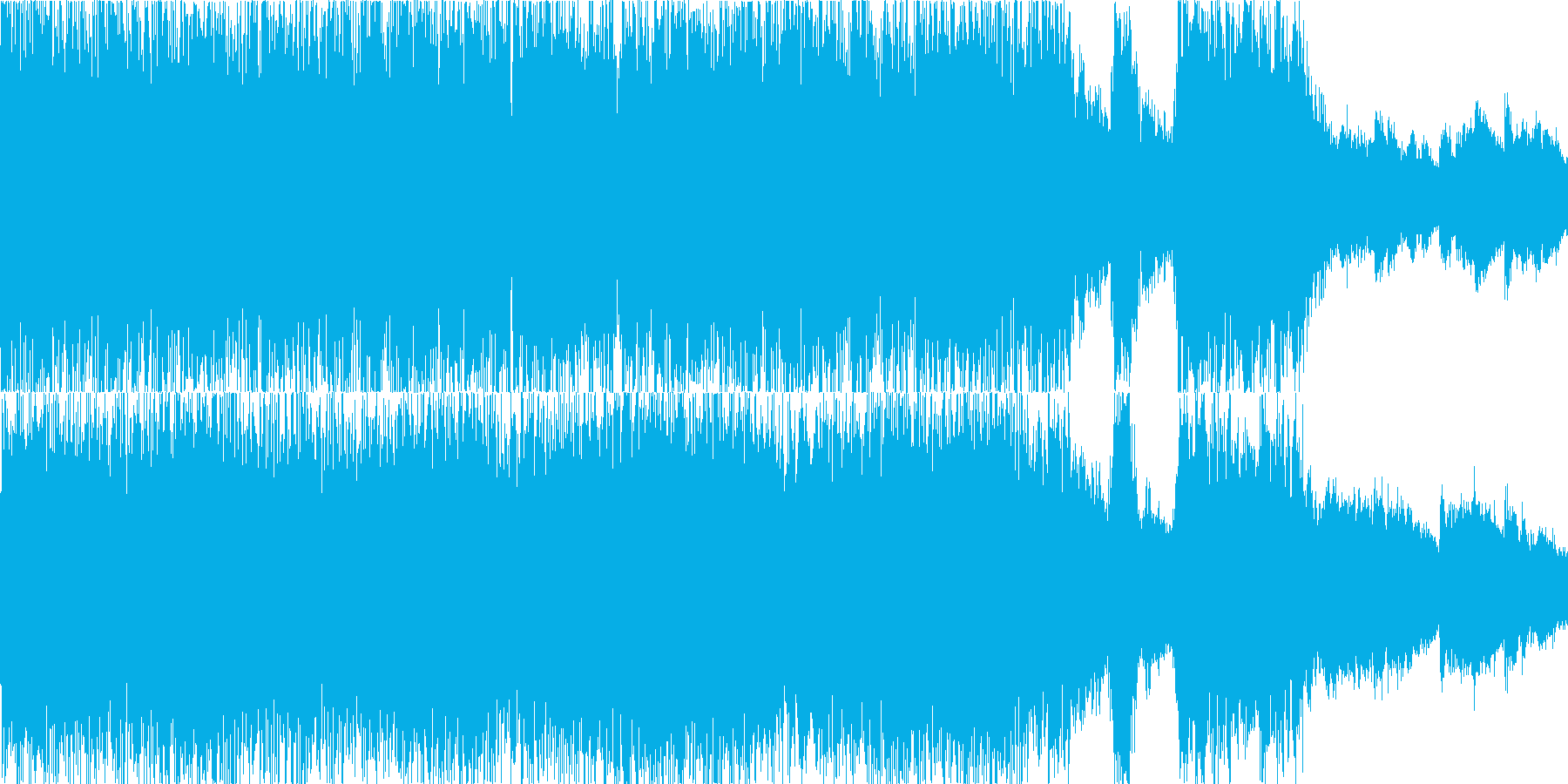 荘厳なコーラス+重厚なロックのループの再生済みの波形