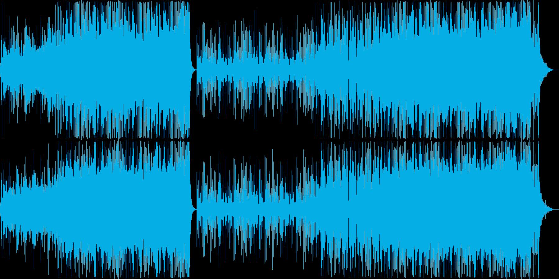 にぎやかでテンポがよい4つ打ち和風曲の再生済みの波形