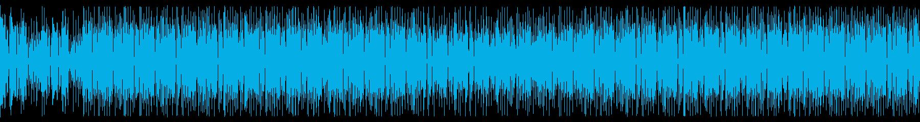 ファンクギターカッティングと陽気フルートの再生済みの波形