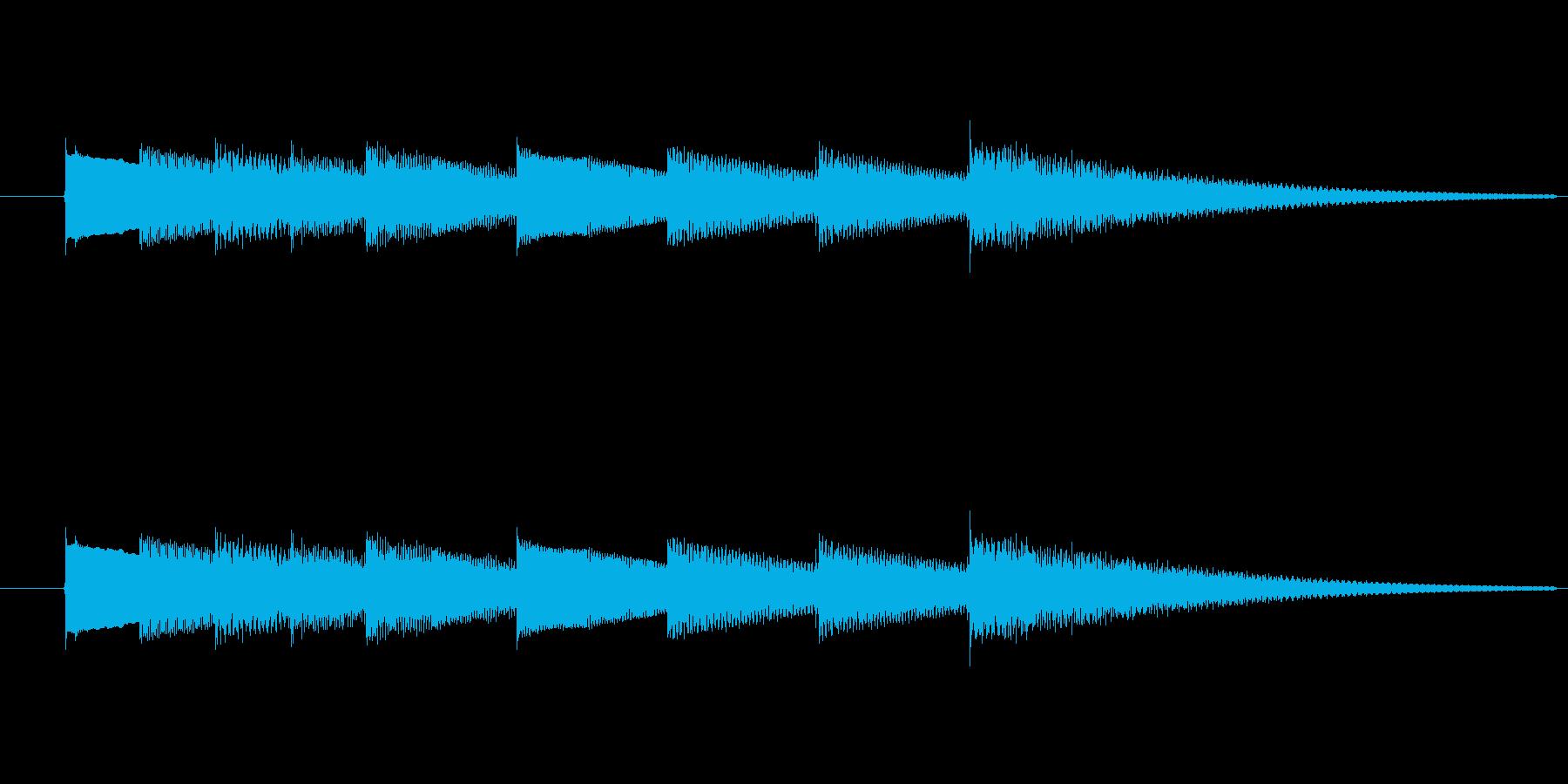 キラキラ輝きのあるベル音の3秒サウンドの再生済みの波形