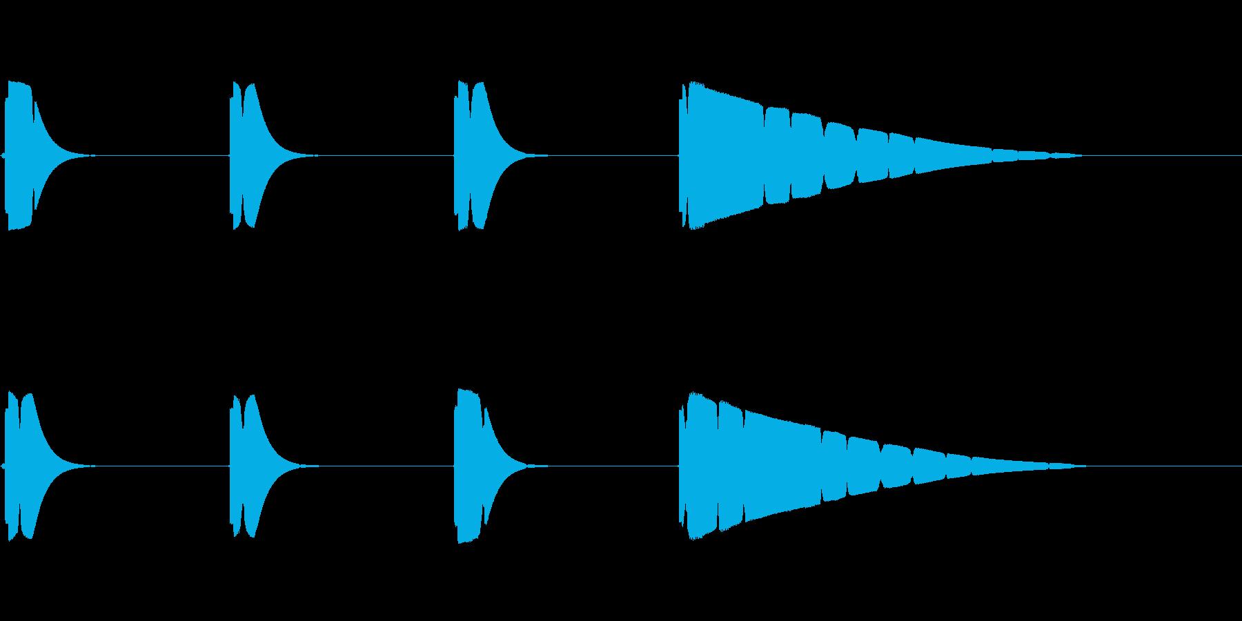 プップップッポーン(カウント音、遅め)の再生済みの波形