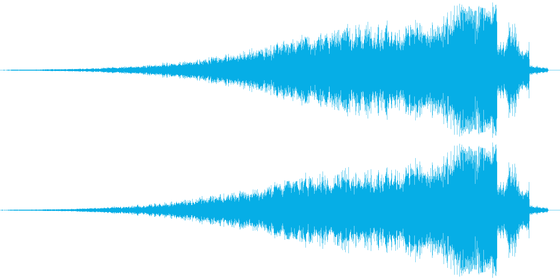 フェードインするキラキラ音の再生済みの波形