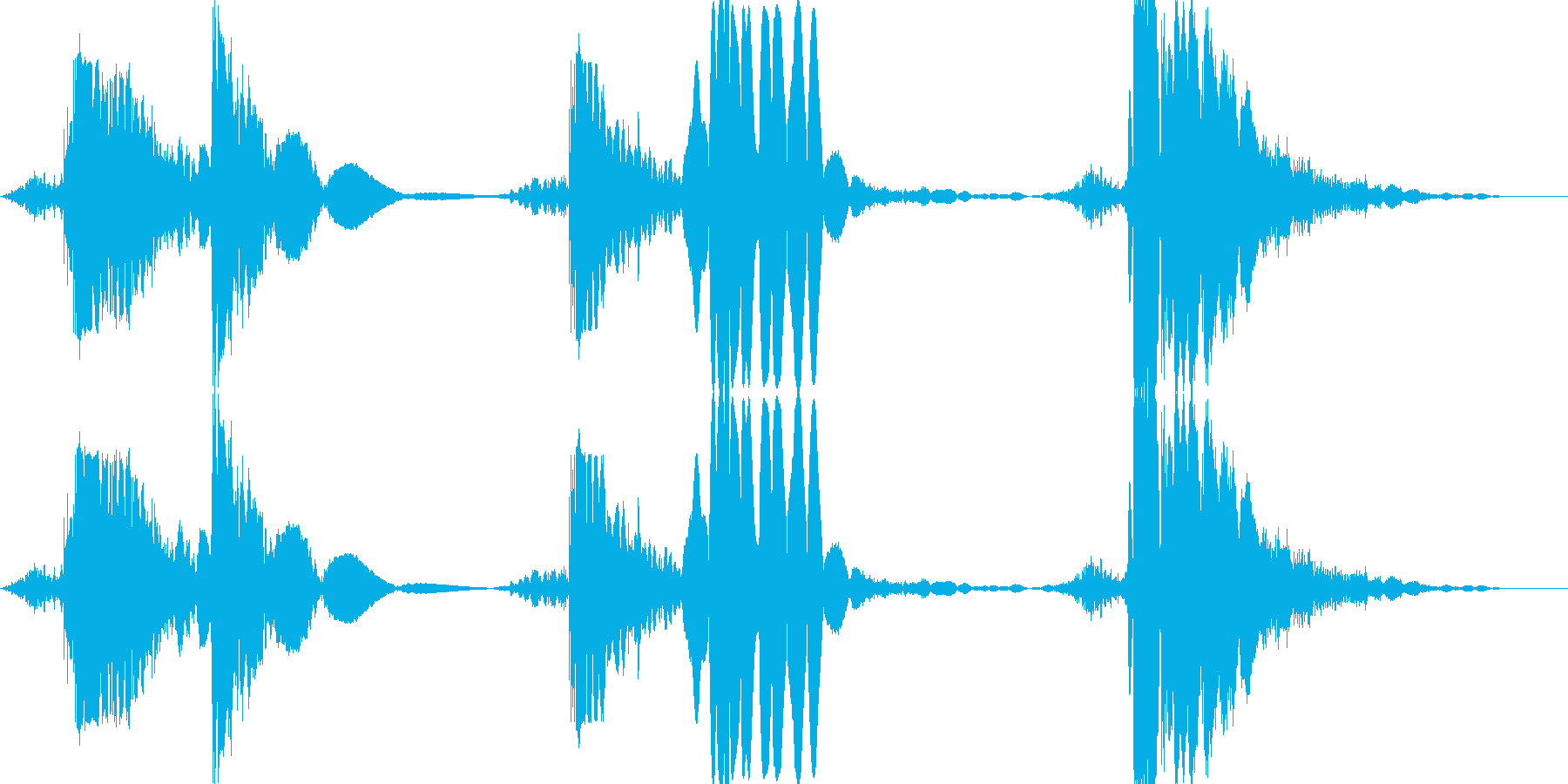 打撃 パンチ&キックの5ヒットコンボの再生済みの波形
