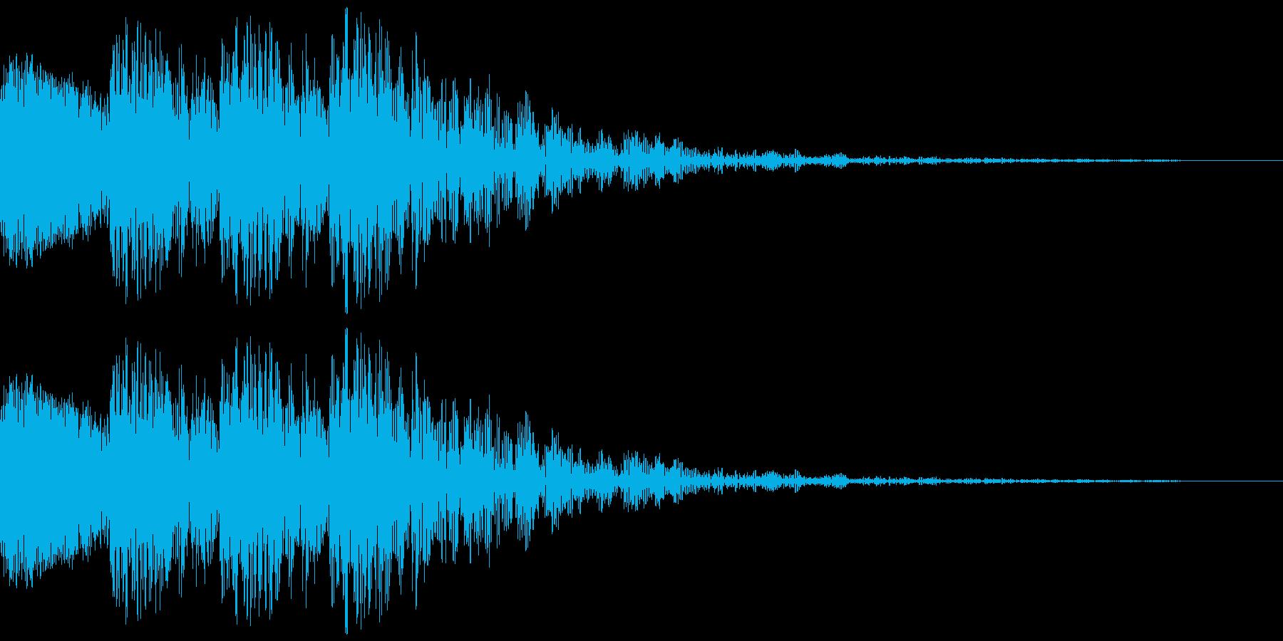 文字のインパクト音が4回鳴ります。の再生済みの波形