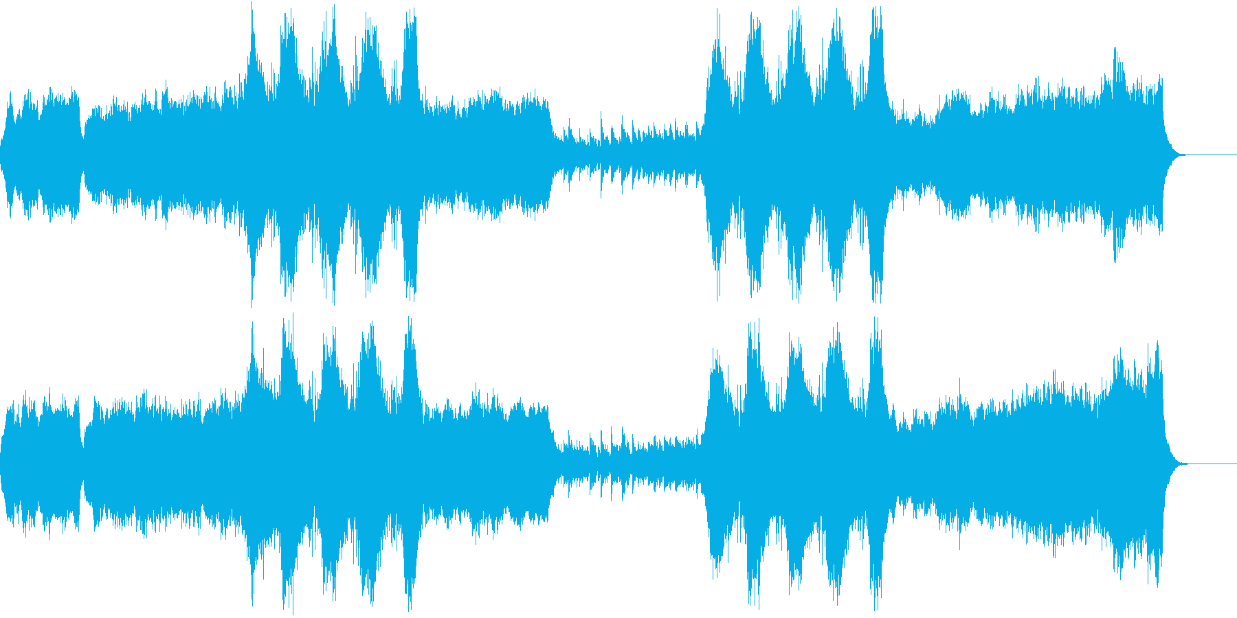 シリアスな、暗い雰囲気の教会音楽の再生済みの波形