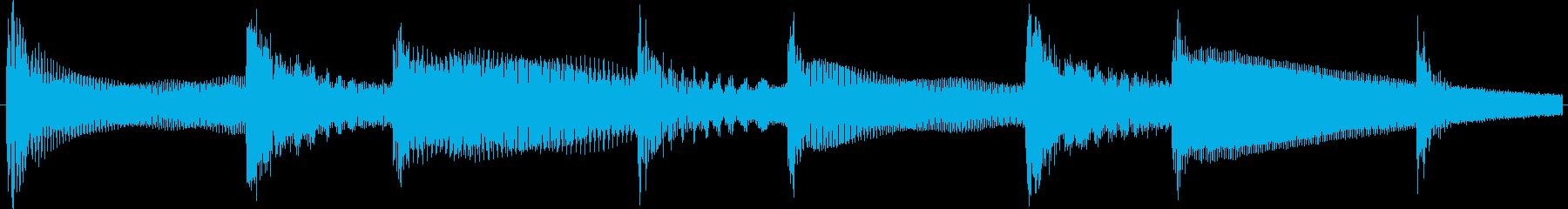 ベースとベルシャワーのループ向け素材の再生済みの波形