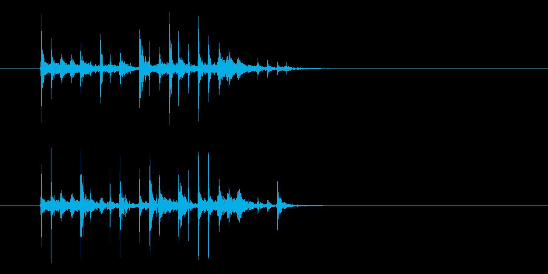 パーカッションによるショートジングルの再生済みの波形