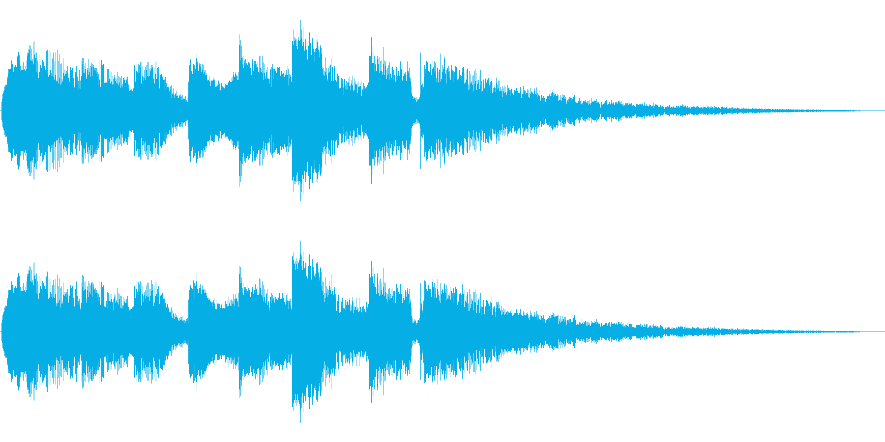 エレキギターのみの穏やかなジングルの再生済みの波形