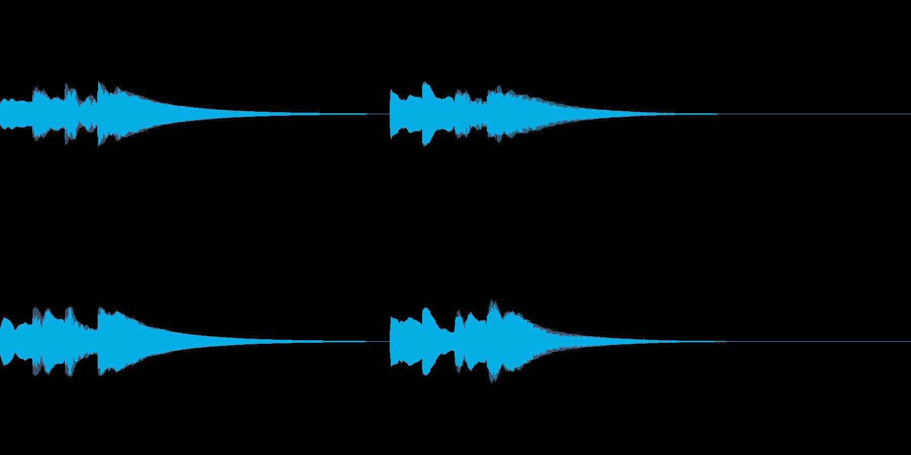 シンプルなピンポンパンポンチャイムの再生済みの波形
