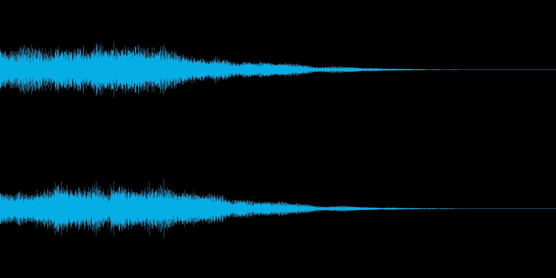 アプリやゲームクリア時のシンセベル効果音の再生済みの波形