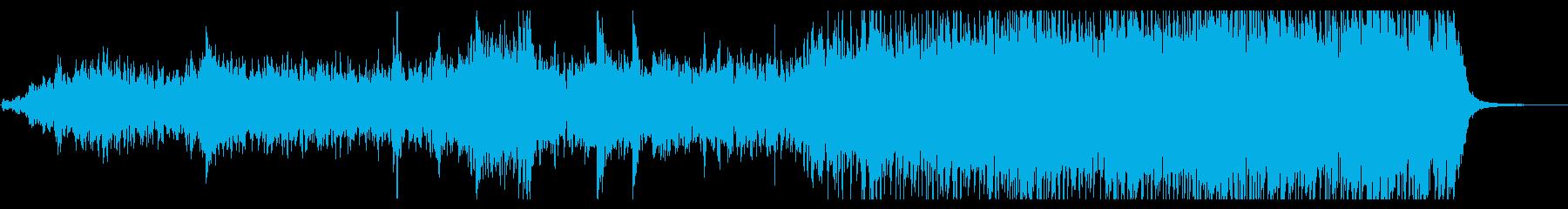 ドラや和太鼓の不穏かつ激しいリズムの音楽の再生済みの波形