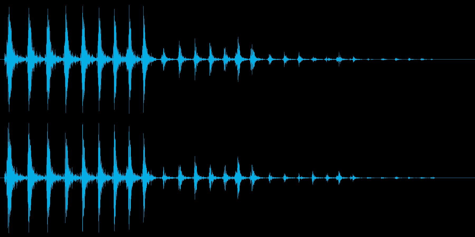 ワープ音、高めのシンセサイザーのループ音の再生済みの波形