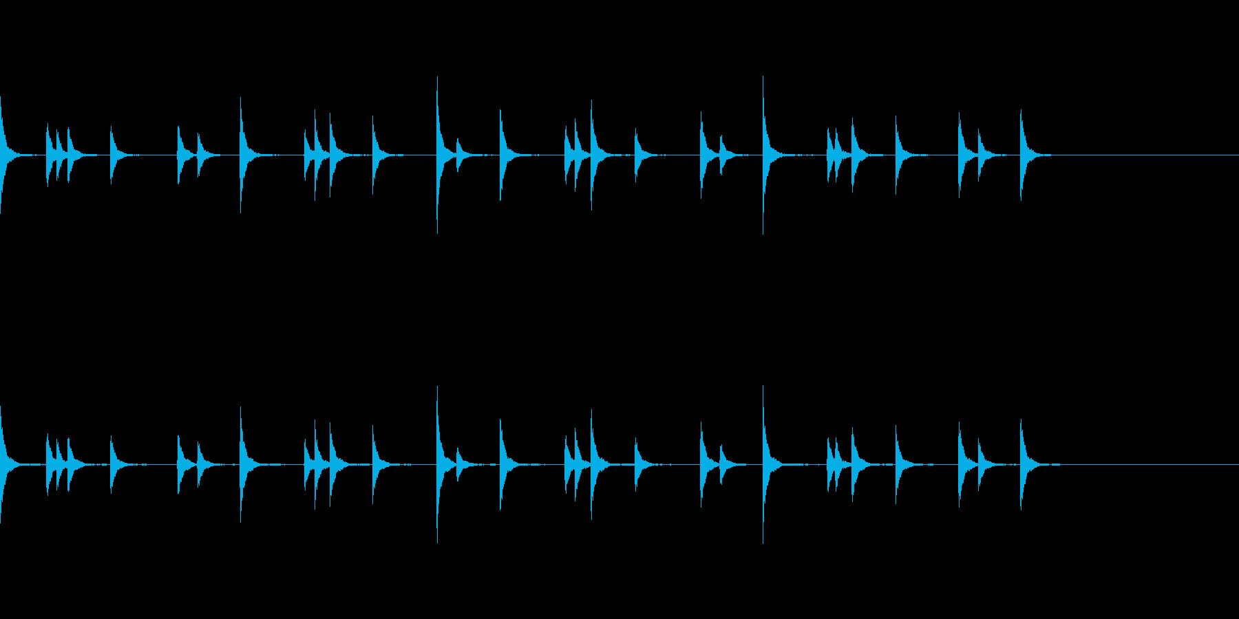 音侍 お囃子の当たり鉦のループ音リバーブの再生済みの波形