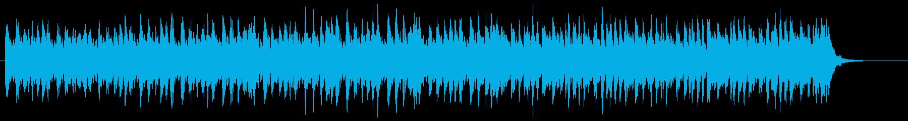 ピアノとストリングスの近未来的なCM音楽の再生済みの波形