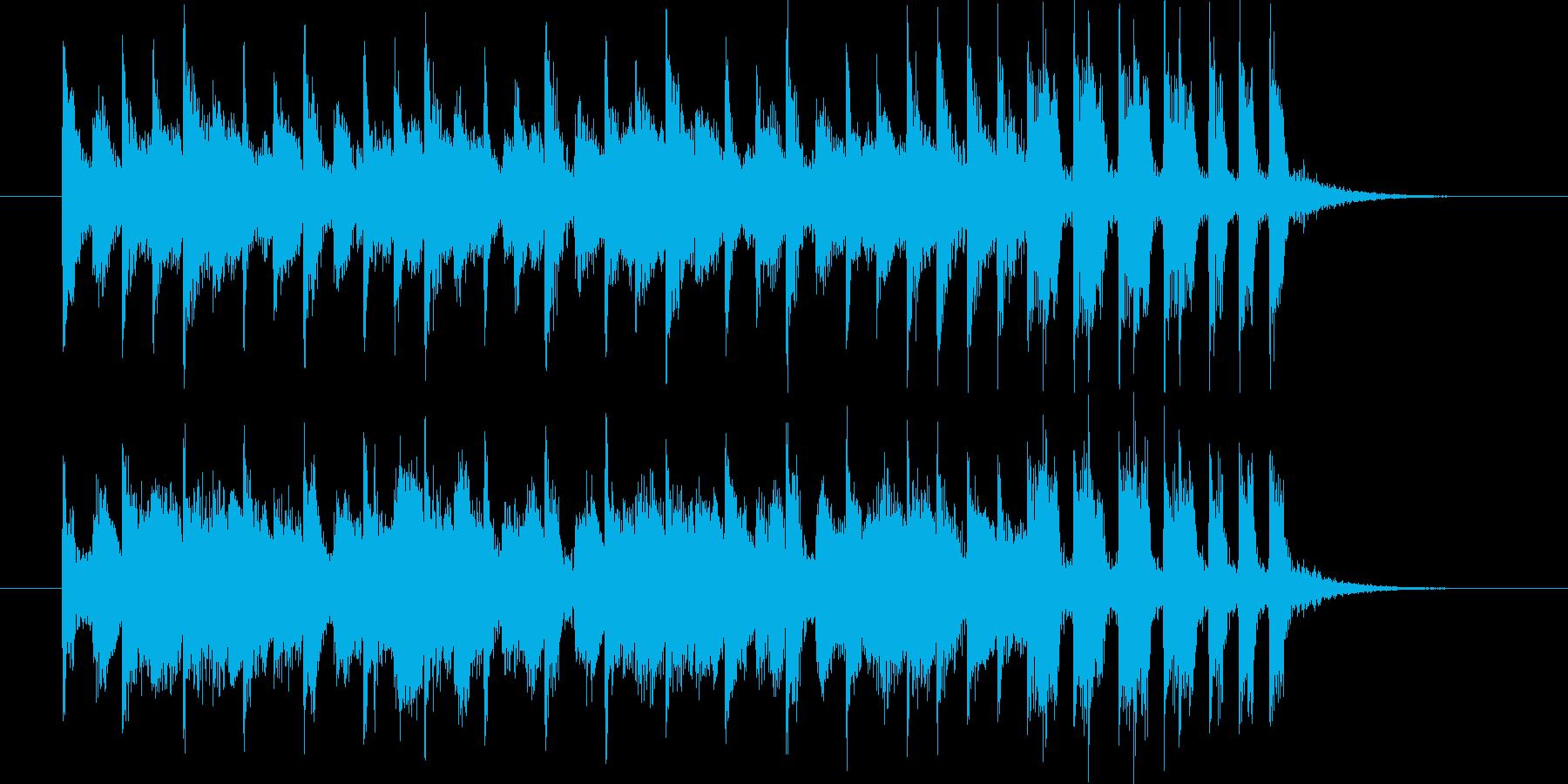 明るく弾みのある短めのポップな曲の再生済みの波形