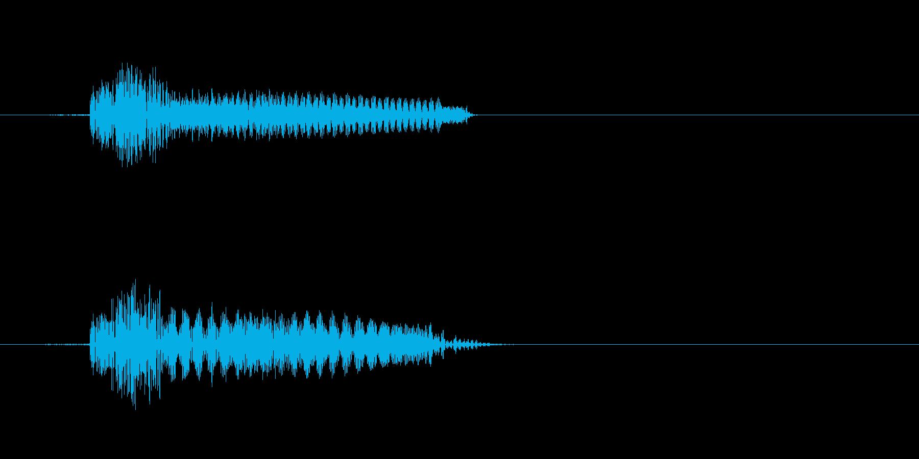 カチッなる軽快なかわいい効果音の再生済みの波形