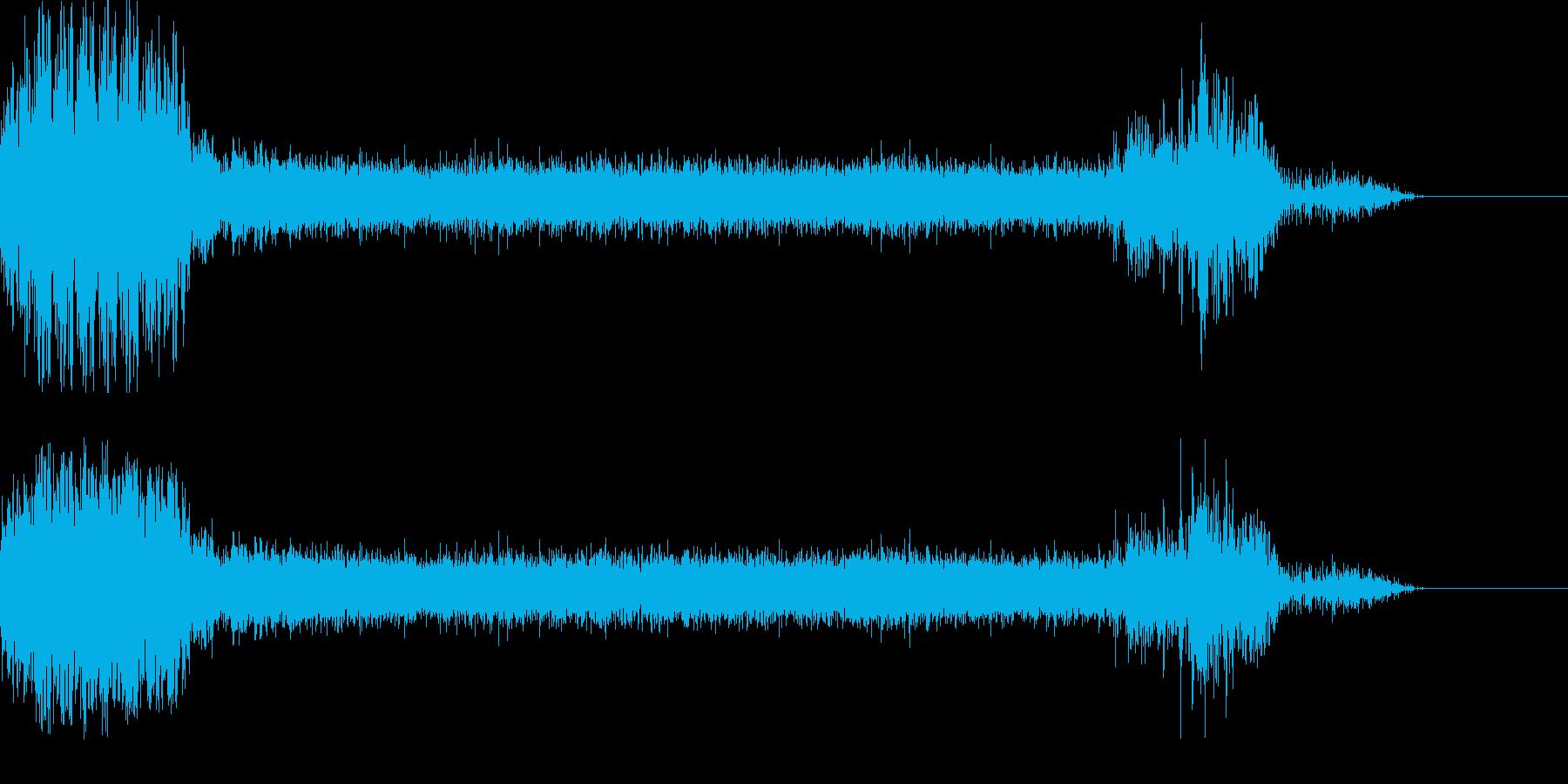 壊れかけた機械が動作を停止する音の再生済みの波形