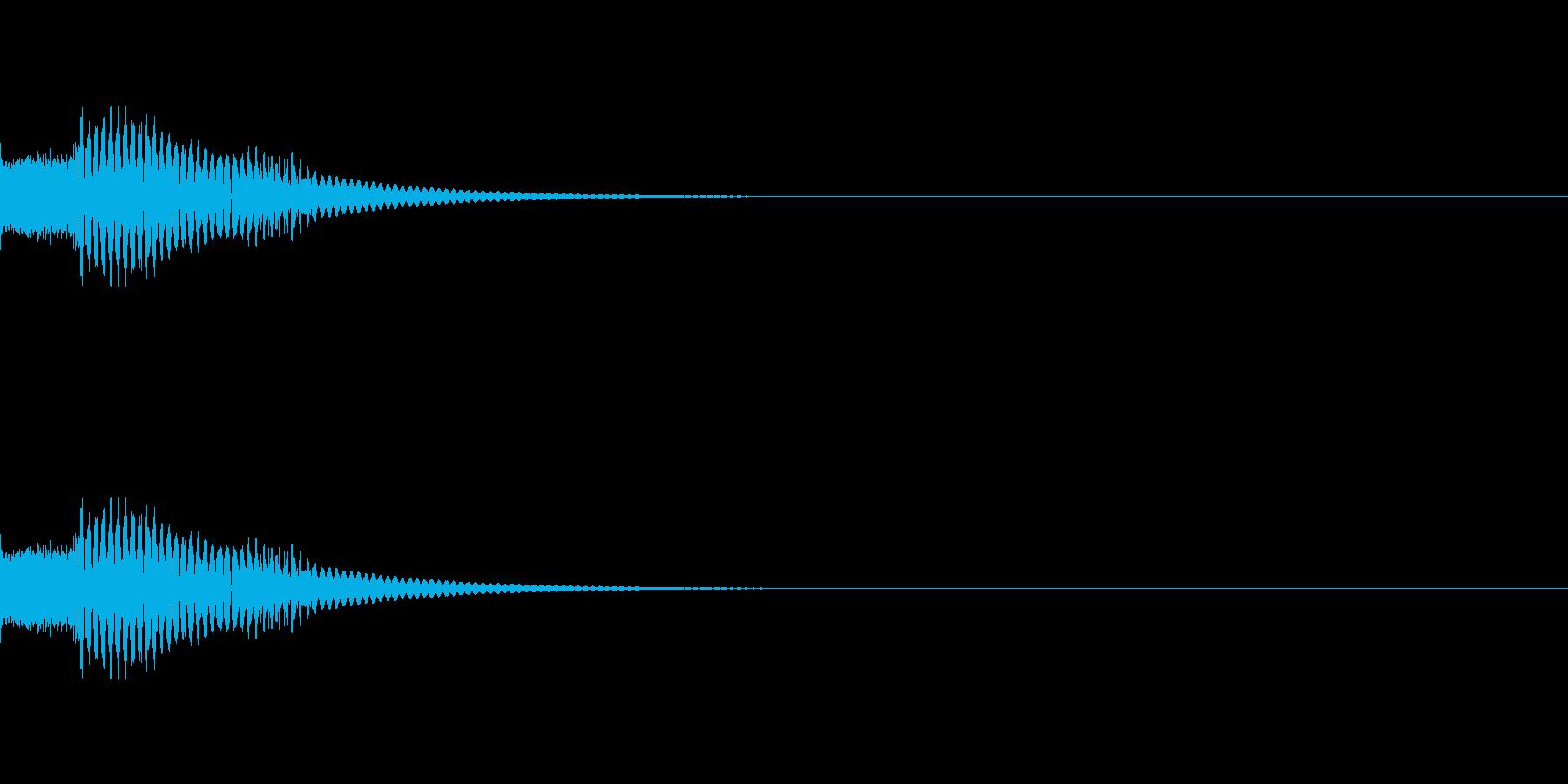 短いマリンバ着信音とバイブ音の再生済みの波形