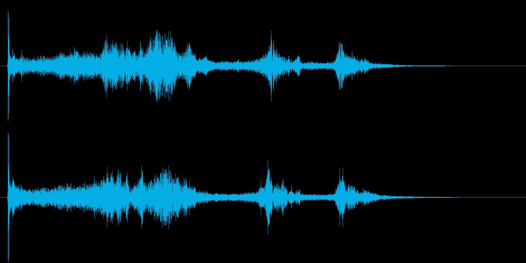 風と金属がテーマのアイキャッチ音の再生済みの波形