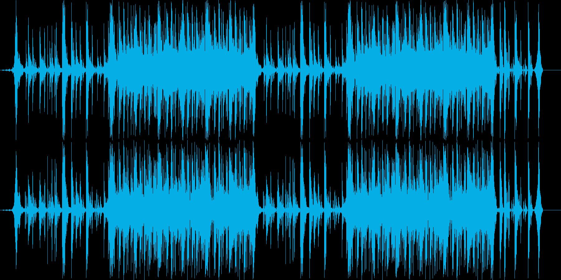 スピード感のあるドラムンベース曲の再生済みの波形