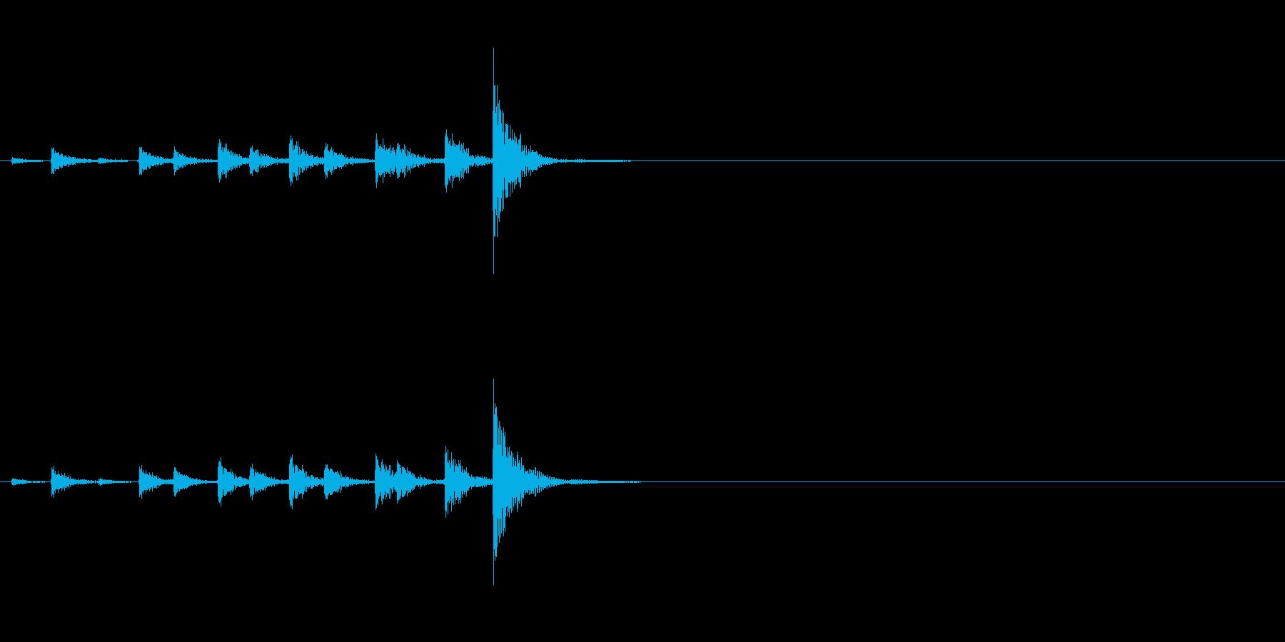 相撲などの触れ太鼓「大拍子」の連続音1の再生済みの波形