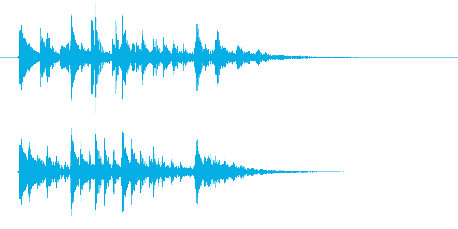 生演奏:ステレオディレイの和音ピチカートの再生済みの波形