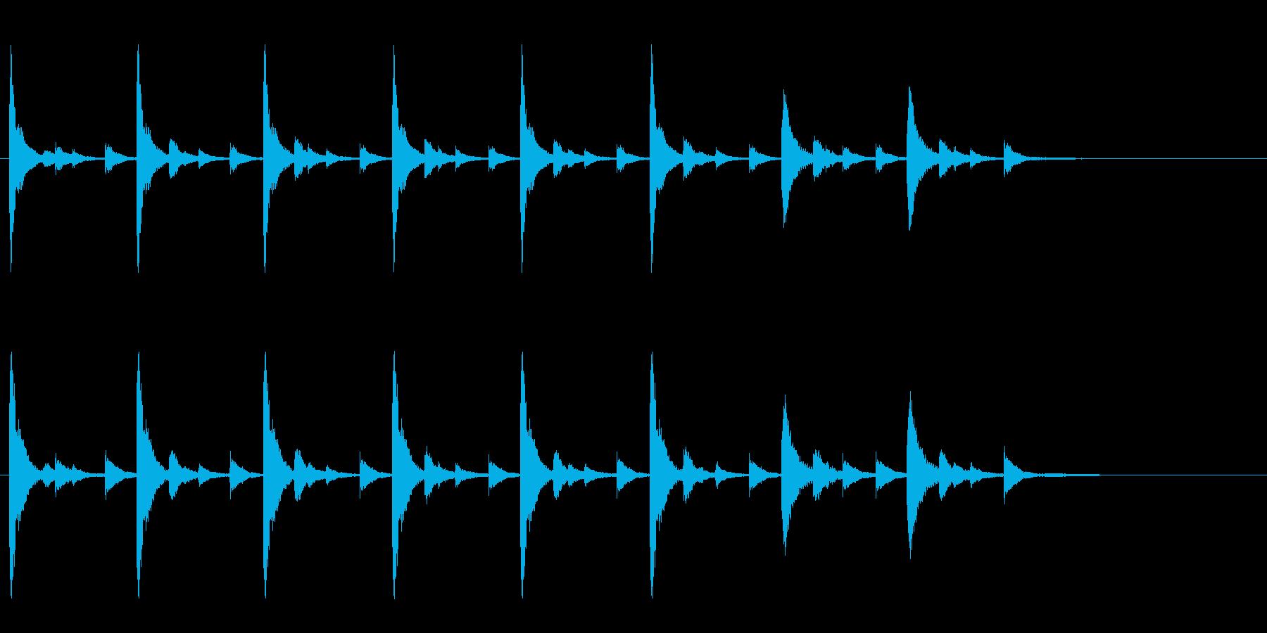 お祭りやお囃子の当たり鉦のフレーズ音の再生済みの波形