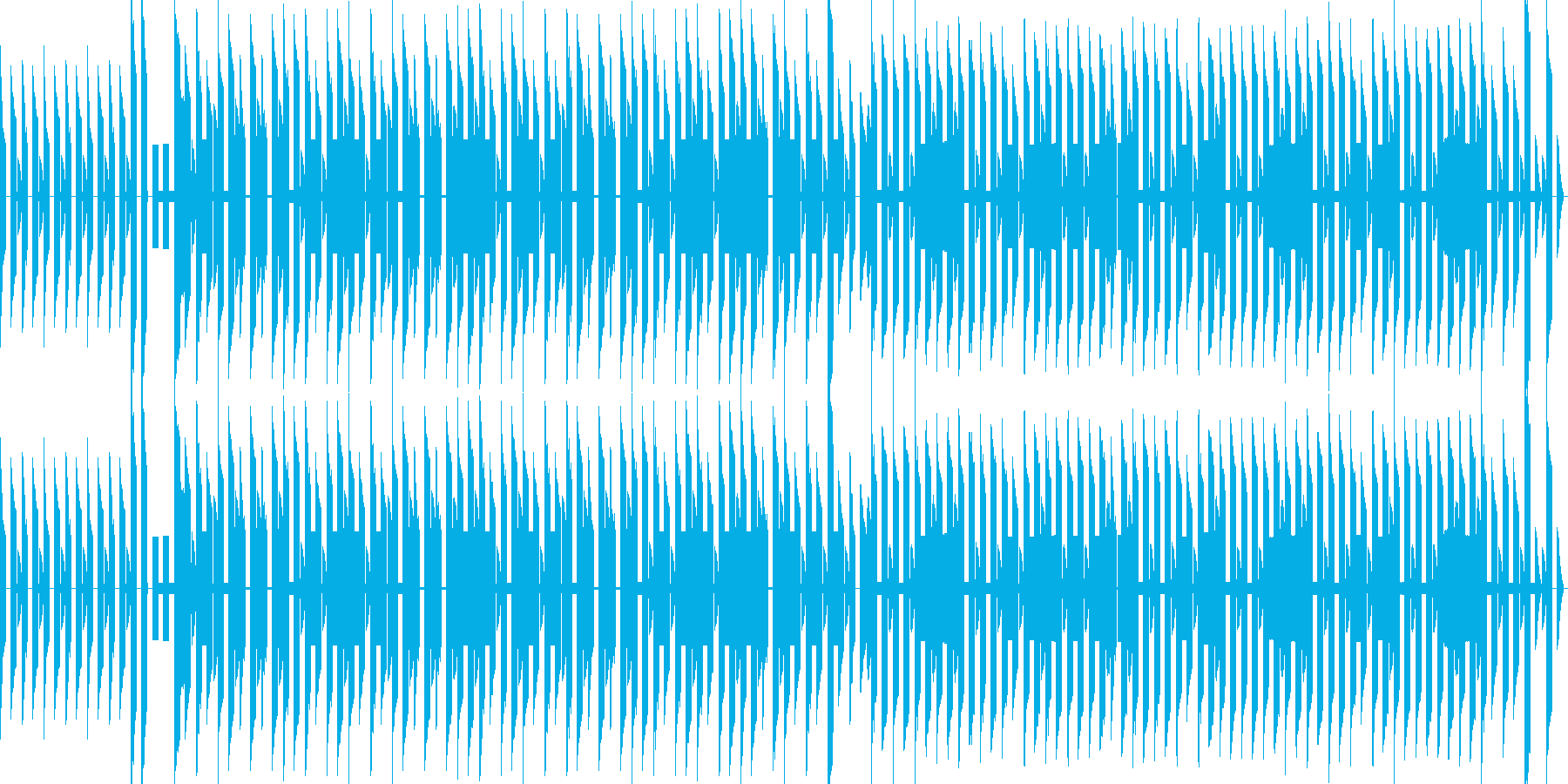 のどかな街のチップチューン風BGMの再生済みの波形