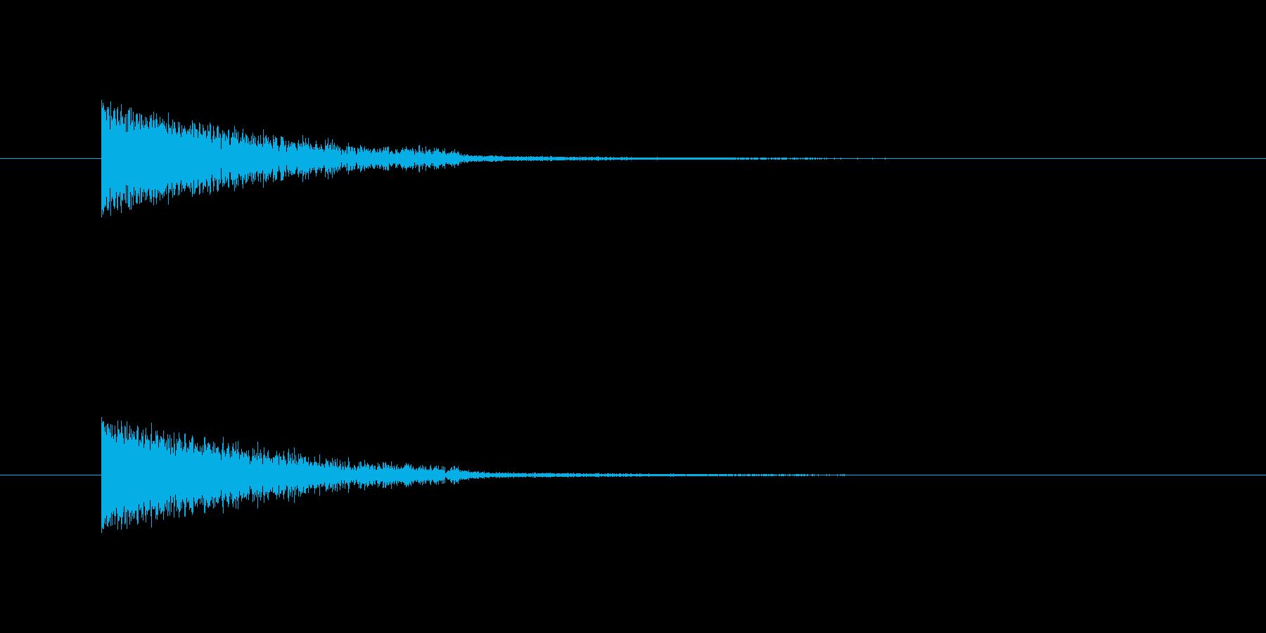 何かを吸収したような音の再生済みの波形