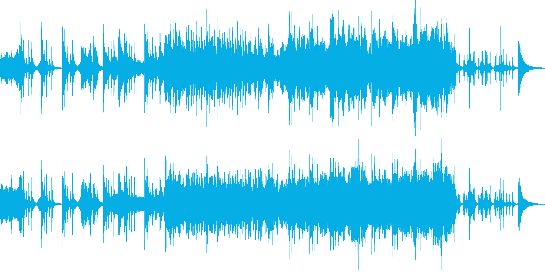 ピアノとチェロのゆったり目なインストの再生済みの波形