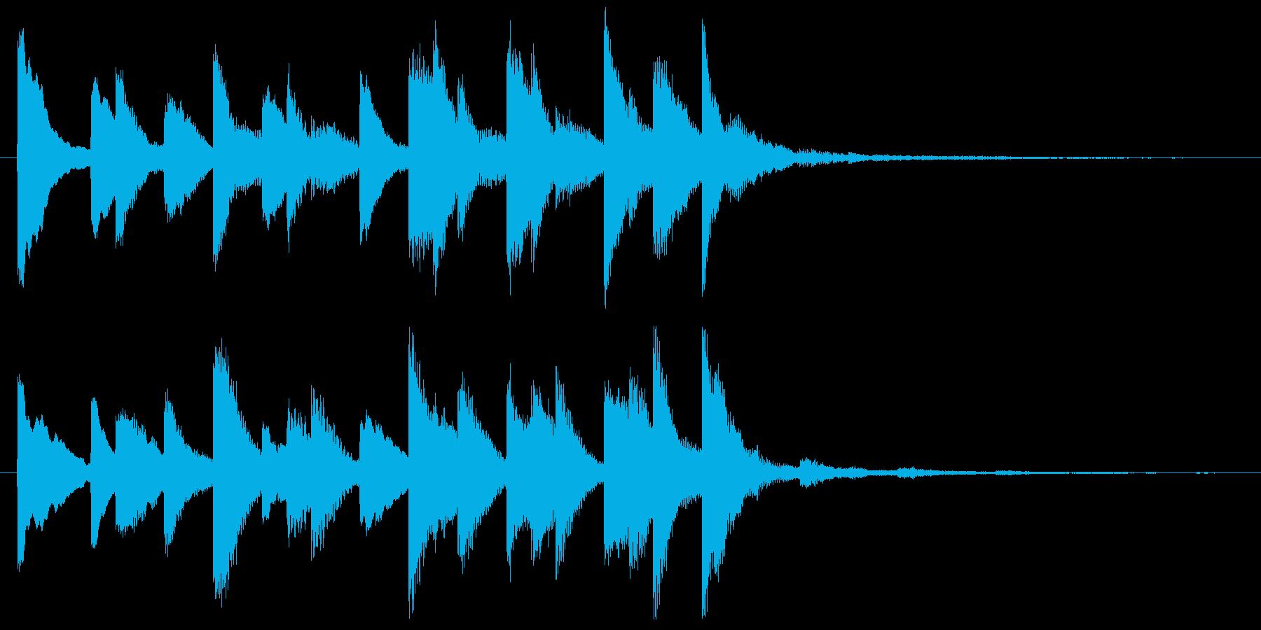 かわいくポップなベル音のワンフレーズの再生済みの波形