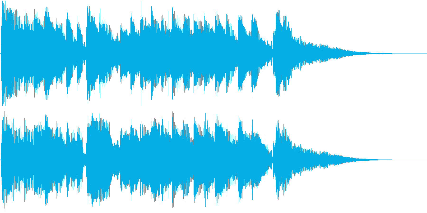 ギターとピアノによる15秒のジングル曲の再生済みの波形