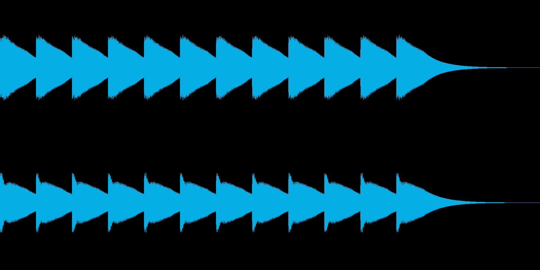ボーンボーン...。時計の鐘B(高・長)の再生済みの波形