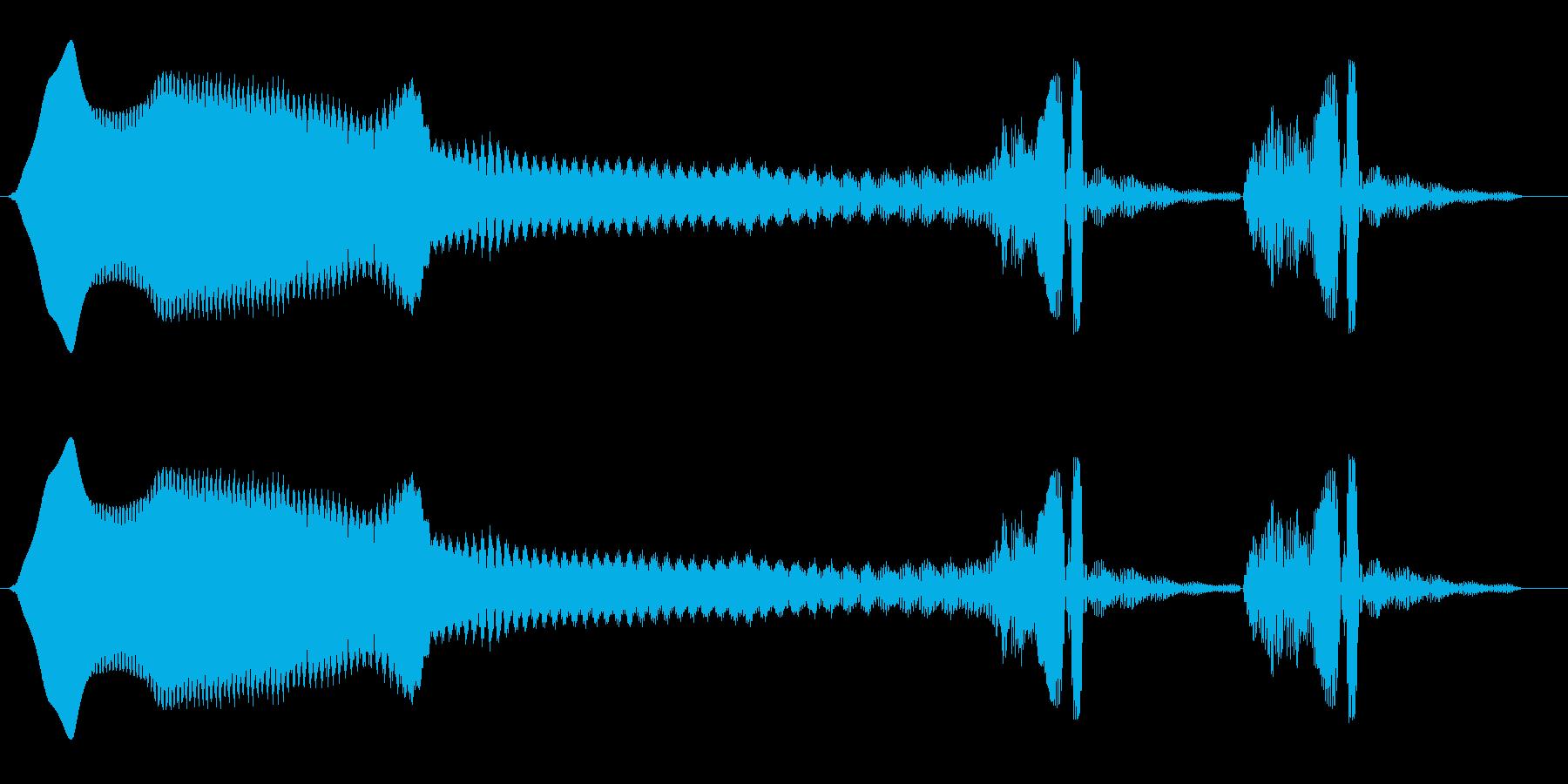 ヒュウーン、ウンウン(長い落下後余韻)の再生済みの波形
