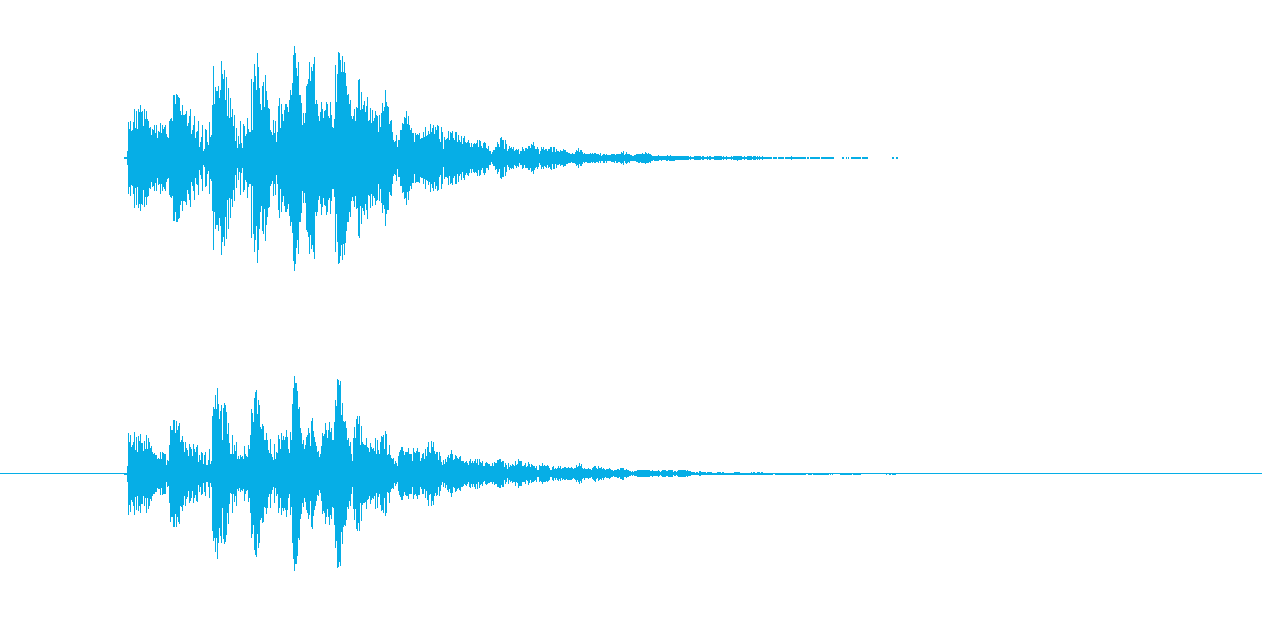 ポワンポワンポワン(起動、終了音)の再生済みの波形