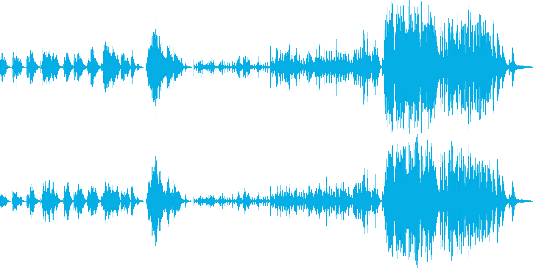 昔を懐かしむピアノ曲の再生済みの波形